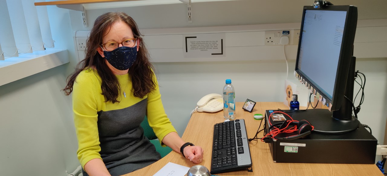 Dr Val Shilling at her desk